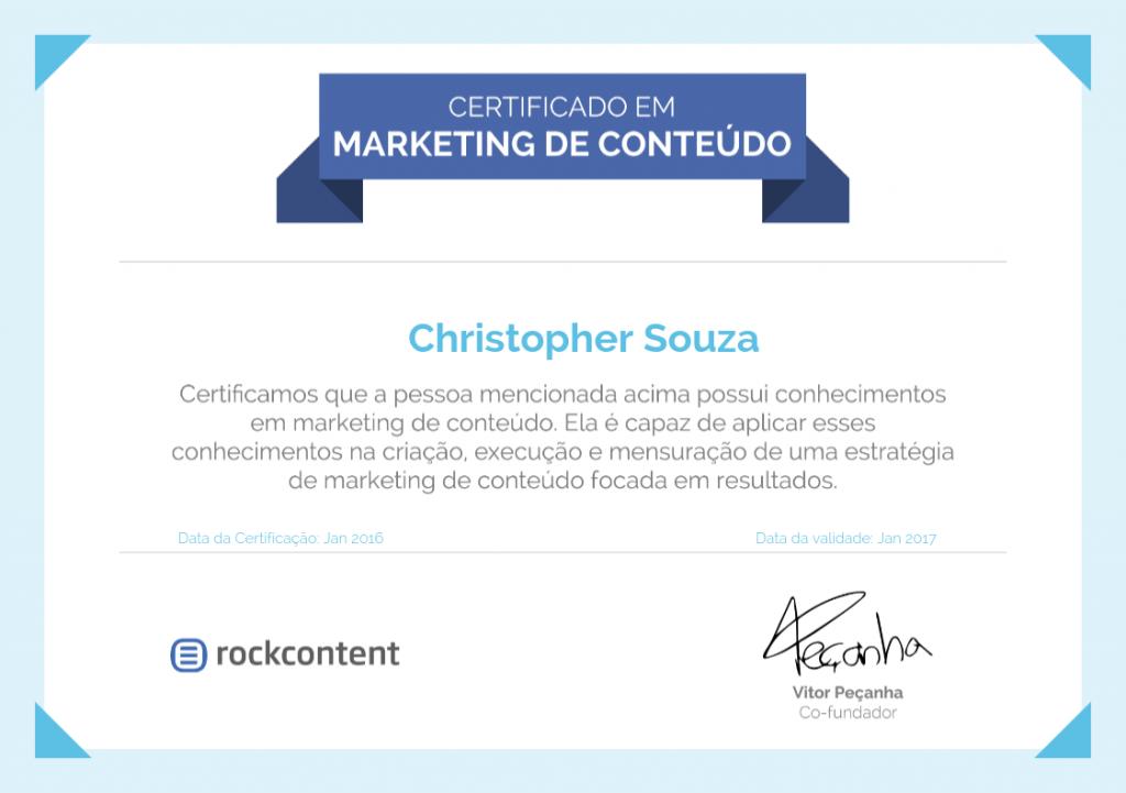Certificado Marketing de Conteúdo - Rock Content